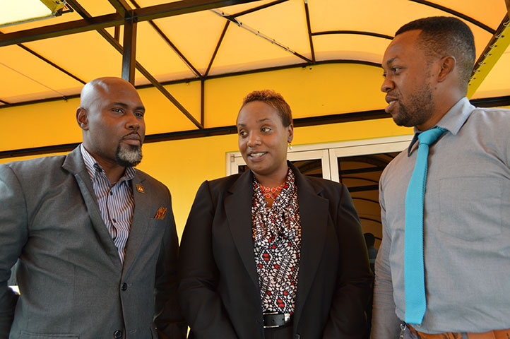 Gheildon Wright (from left), subscription services manager, with fellow JAA managers Dael Whylie, marketing manager, and Kemar West, Promotion & Special Projects Coordinator, at the JAA headquarters in Swallowfield.